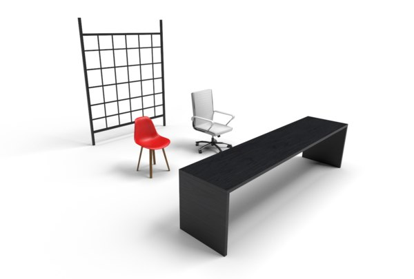 3D office pack chairs table