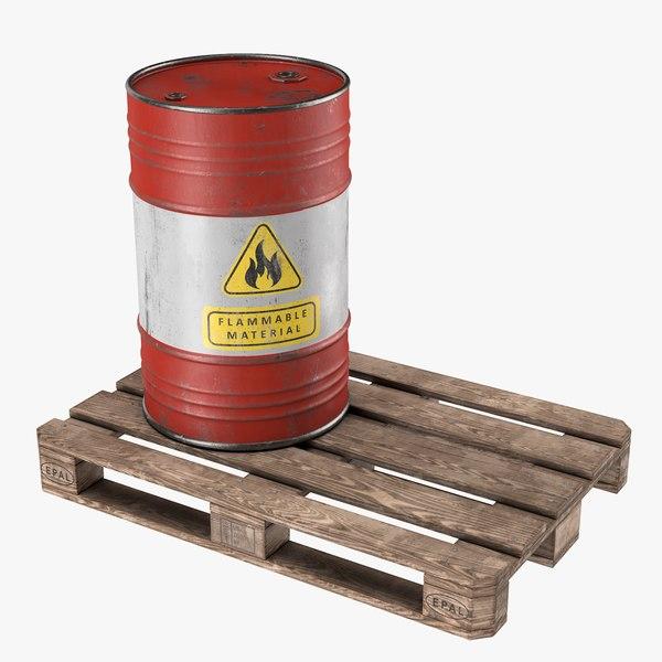 3D steel barrel pallet 02 model