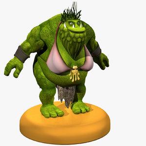 3D creature humanoid monster model