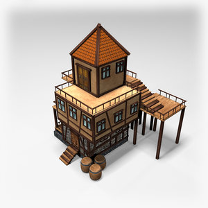 3D medieval tavern polys
