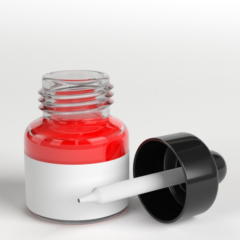3D open dropper bottle glass