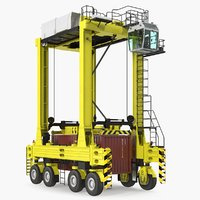 Straddle Carrier with 20ft ISO Container Rigged 3D Model