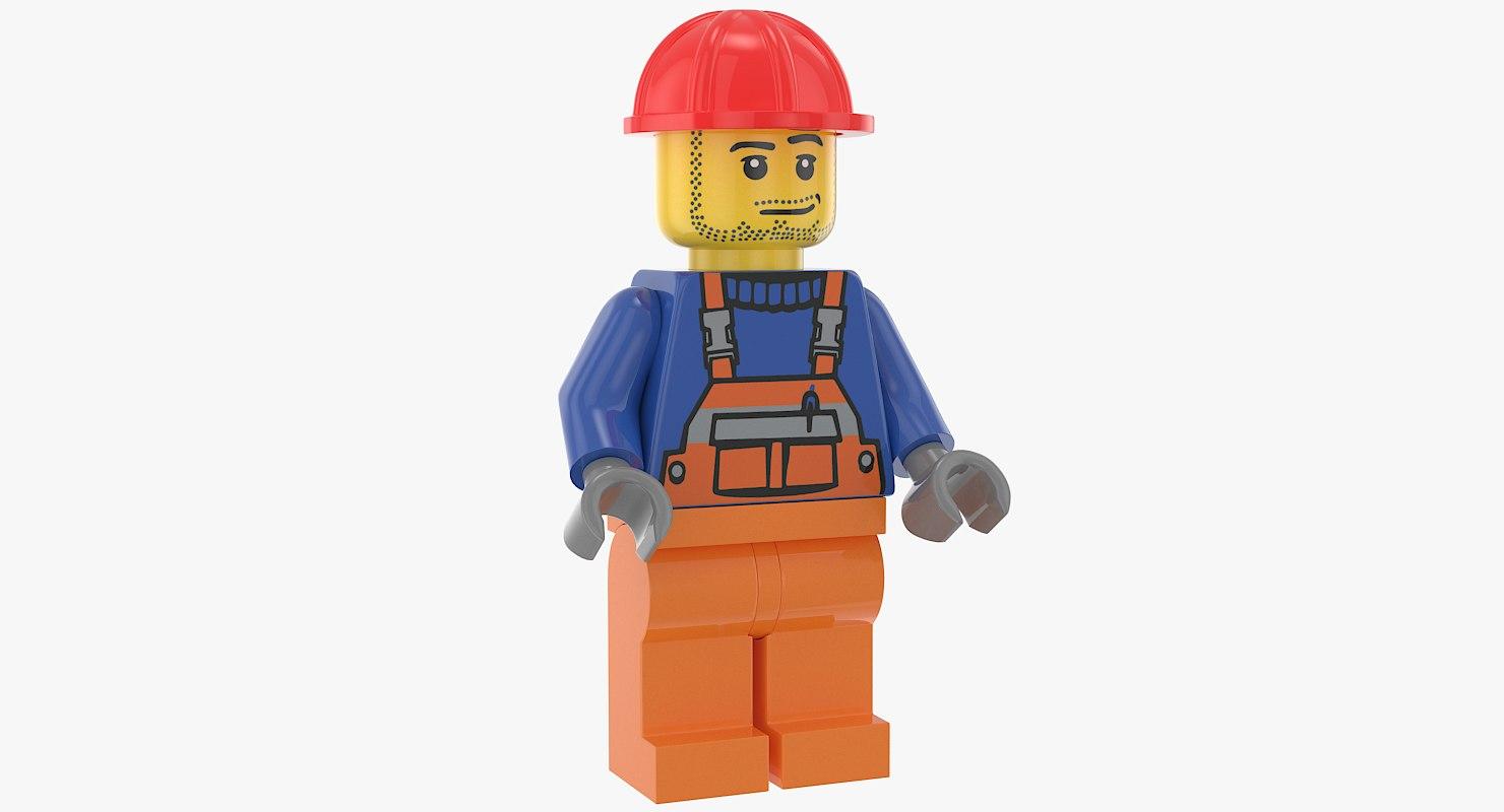 lego construction worker 3D model
