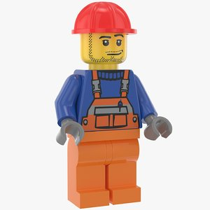 lego construction worker 3D model