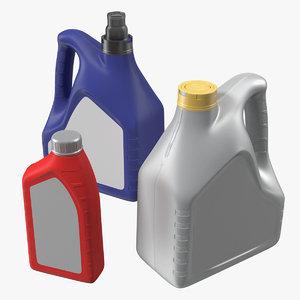 motor oil bottles set 3D model