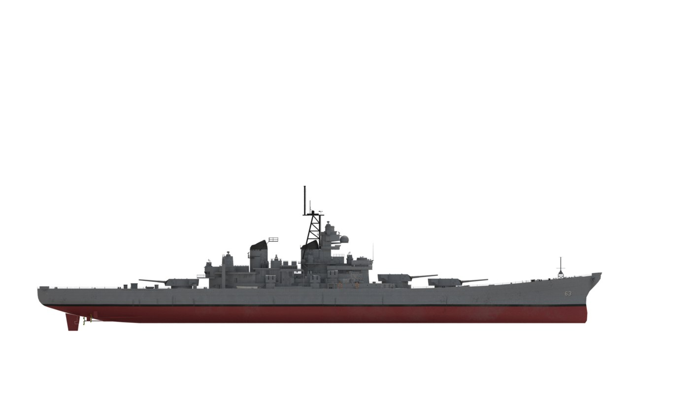battleship missouri 1990s configuration 3D model