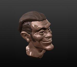 cartoon astronaut head 3D model