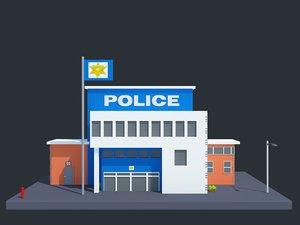 3D model cartoon police station