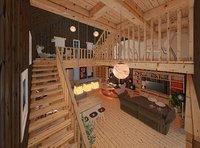 norwegian cozy cabin interior house 3D