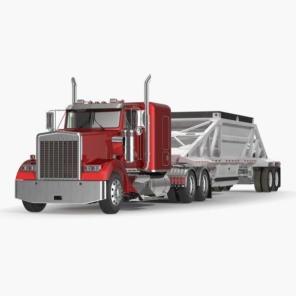 3D truck dump trailer
