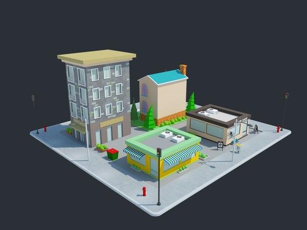cartoon houses modeled 3D model