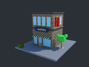 cartoon motel modeled 3D model