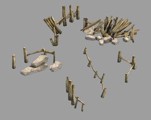 broken - fence 01 model
