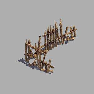 3D broken - wood fence