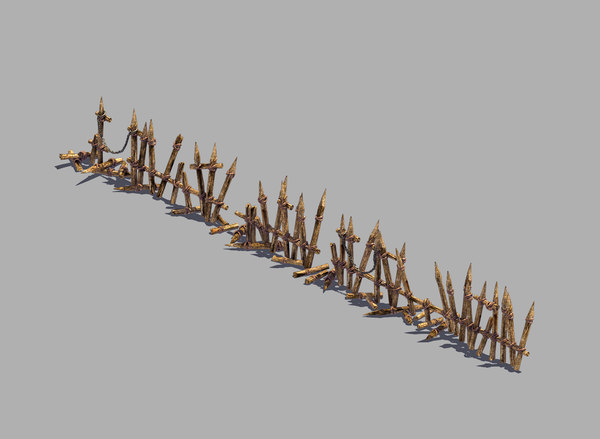 3D broken - wood fence model