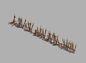 3D broken - wood fence model