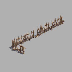 broken - wood fence 3D model