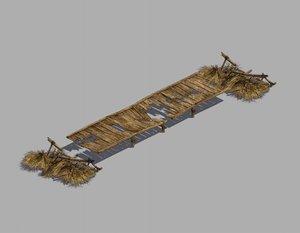 3D broken - wooden bridge