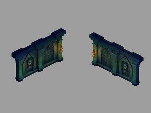 3D model underground palace - wall