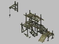 underground palace - scaffolding 3D