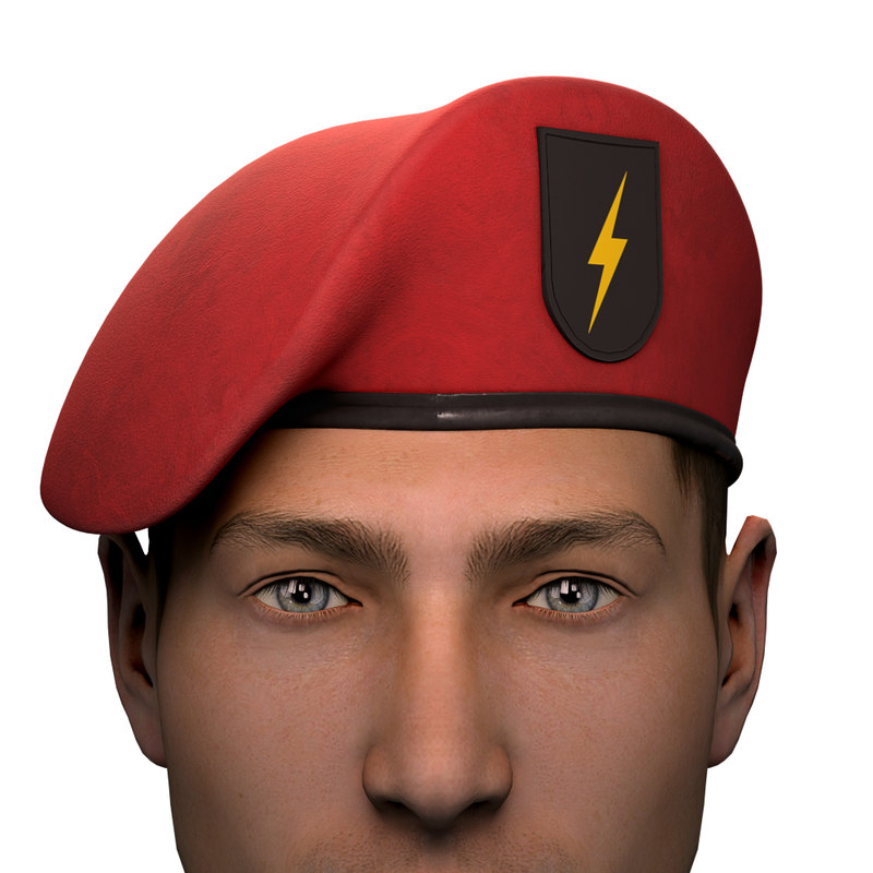 military red beret army 3D model