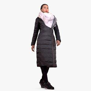 3d casual asian woman walking people model