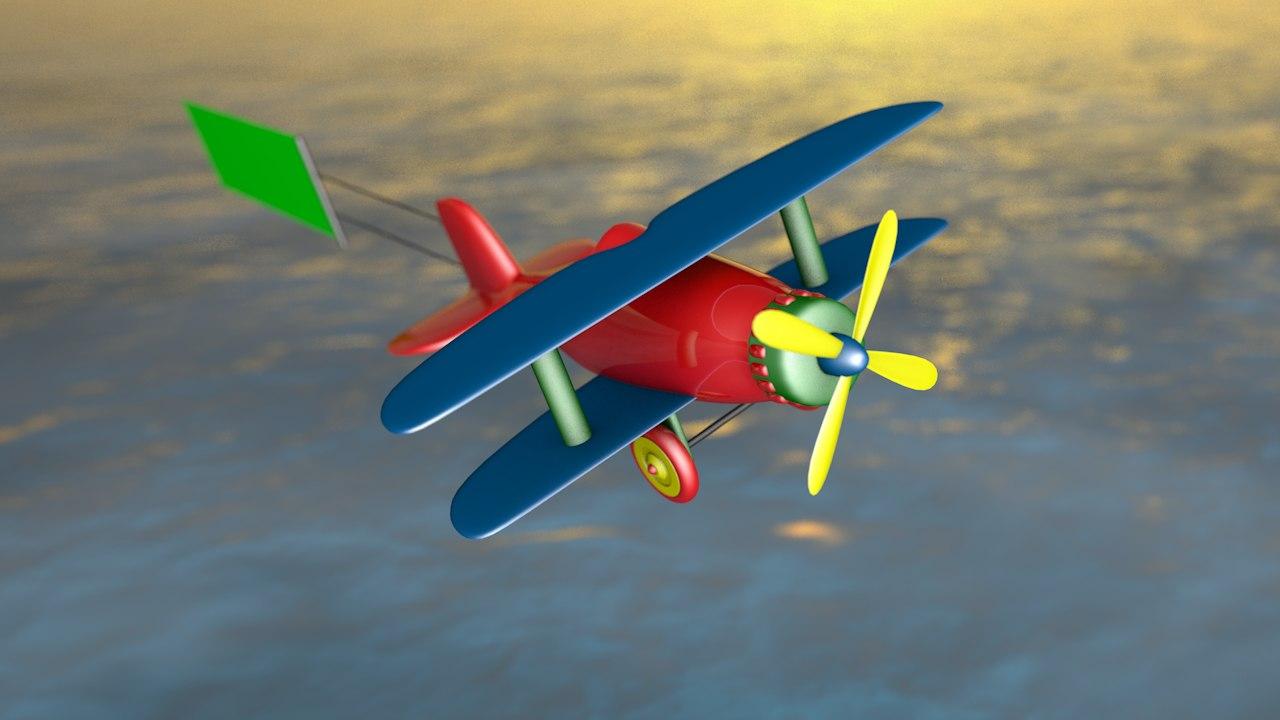 cartoon airplane banner 3D model