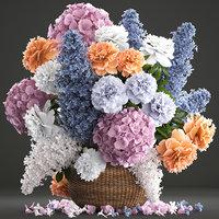 3D model general bouquet flowers basket