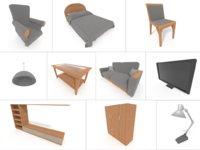 3D living bedroom furniture pack
