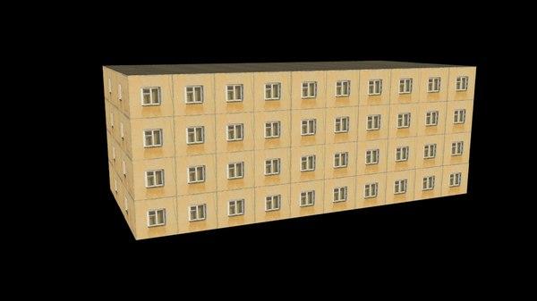 post-soviet panel house 3D model