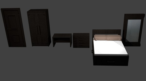 furniture pack bed table 3D model