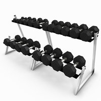 3D weight rack dumbbells
