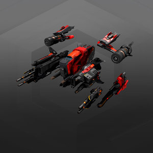 3D modular sf fighters model