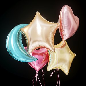 3D colorful foil helium balloons
