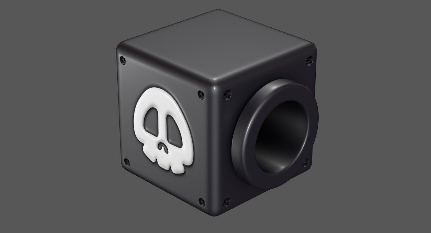 3D model cannon box super mario