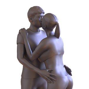 3D couple kissing statue