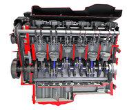 3D cutaway v12 engine