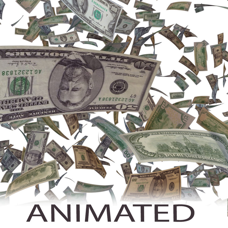 money storm tornado animation 3D model