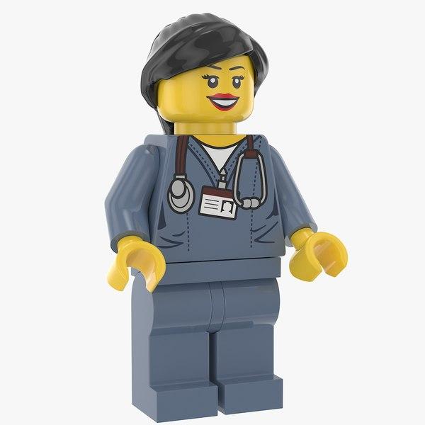 lego woman doctor 3D model
