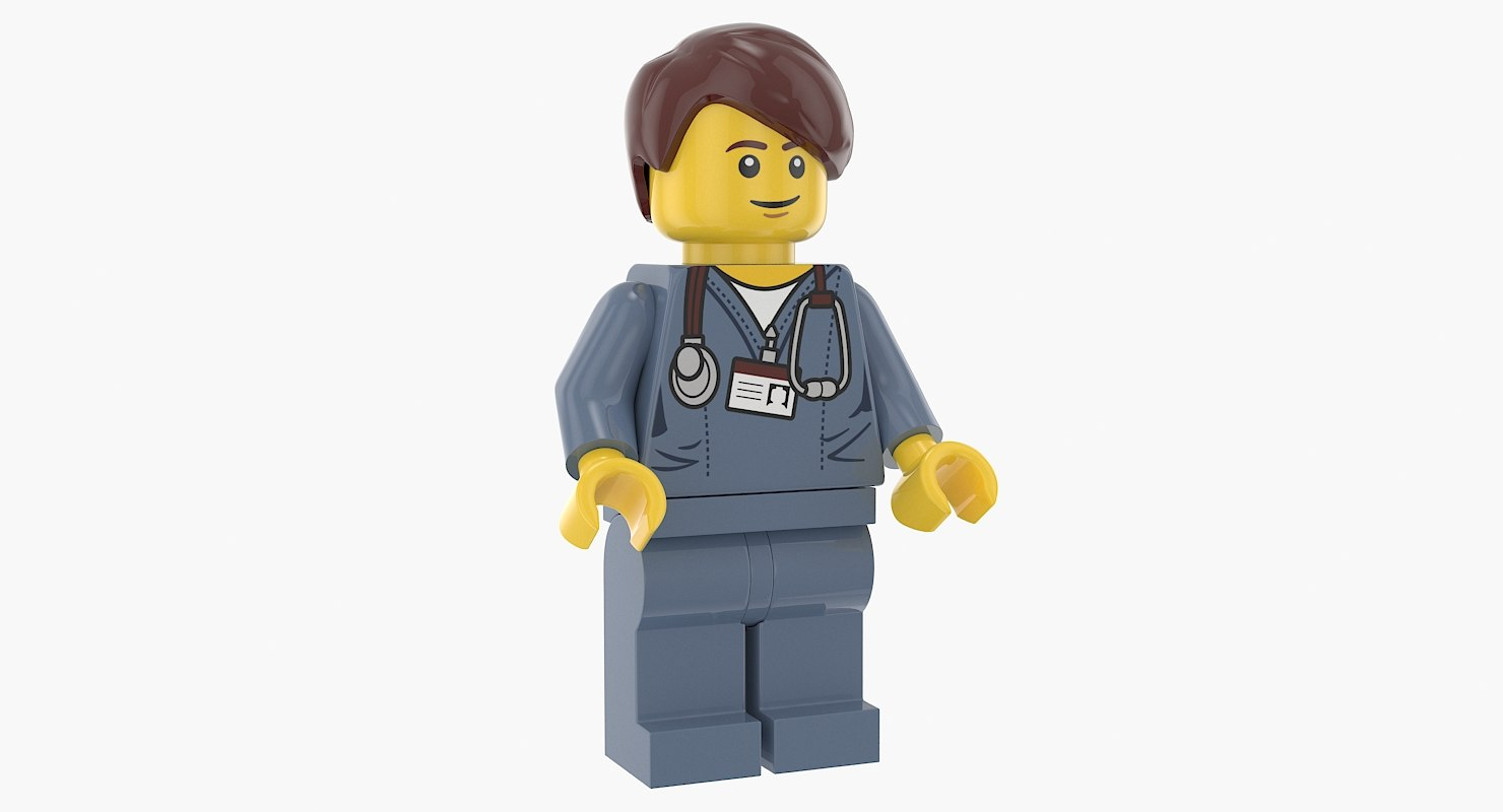 3D model lego man woman doctor
