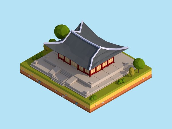 cartoon deoksugung palace landmark 3D model