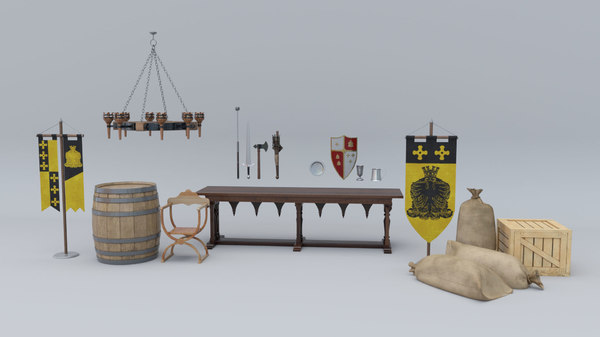 props weapons medieval 3D