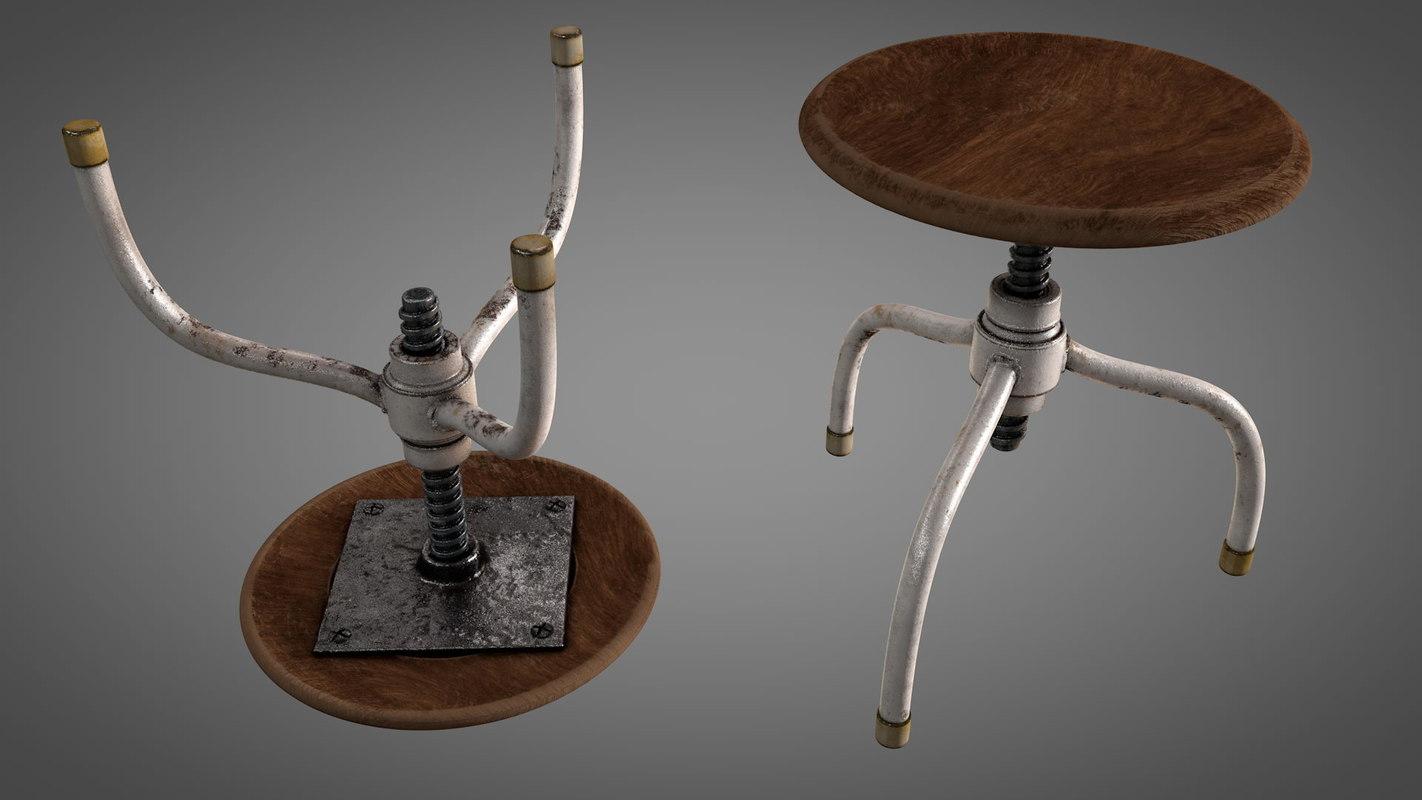 old worn vintage stool 3D model