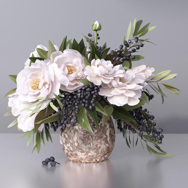 3D flower vase plant nature
