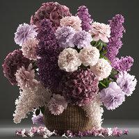 general bouquet flowers basket 3D