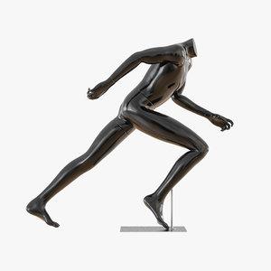 3D black mannequin running