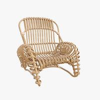 boucle rattan armchair kok model