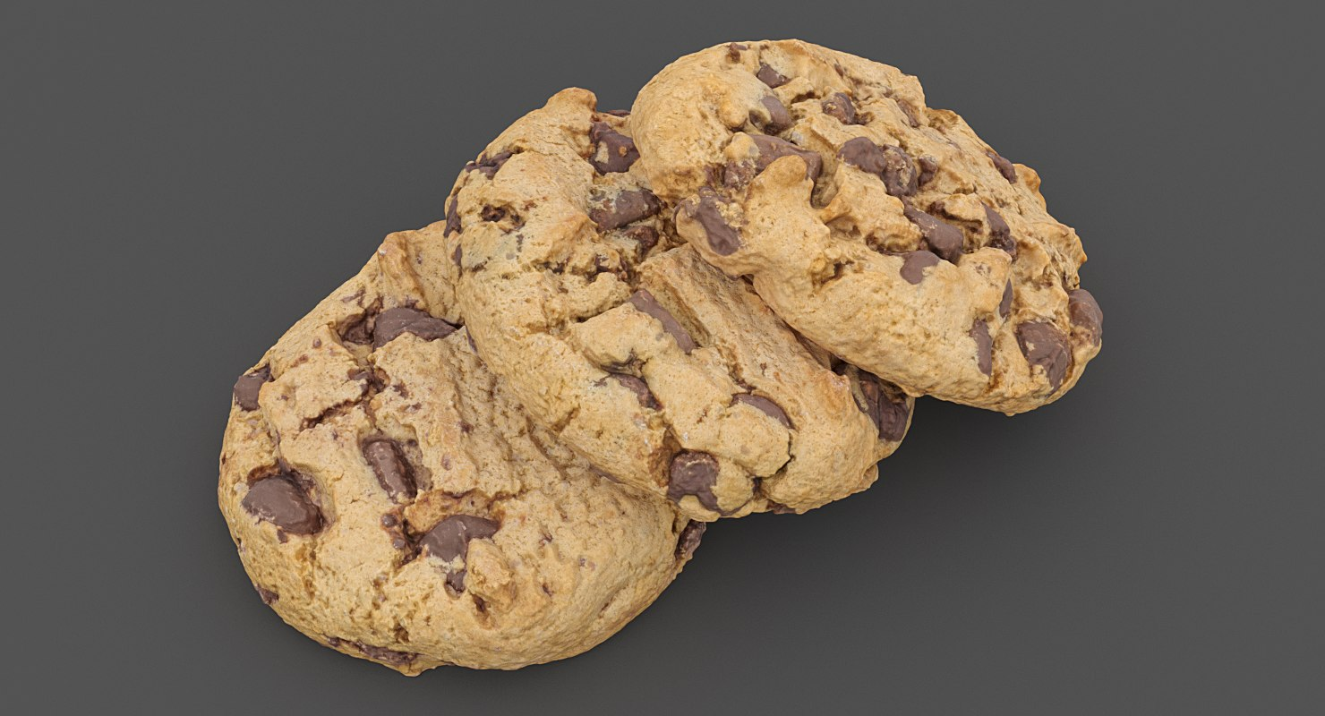 realistic 3 chocolate chip model