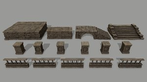 column stairs stone 3D model