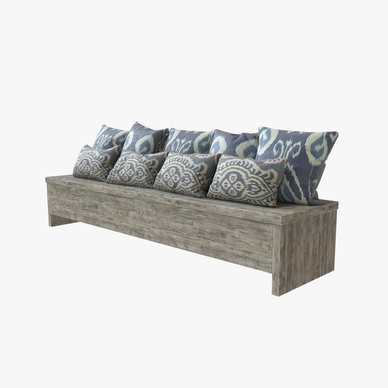 3D bench pillows model